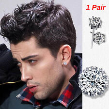 Men's/Youth's/Boys: Silver Plated 6mm Crystal Diamante Sleeper/Stud Earrings