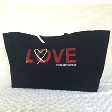 Victoria's Secret LOVE One Size Sequined Shoppers Bag Weekender Tote Black $58