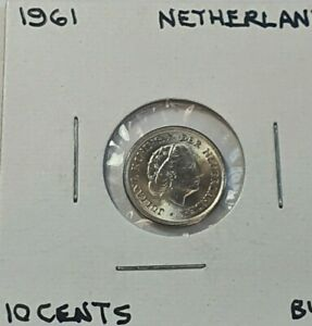 1961 Netherlands 10 Cents nickel coin Brilliant Uncirculated