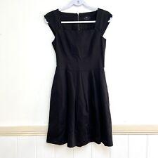 Womens Cue Dress 8 ALine Black Pleated Zipper Cotton Linen Pocket