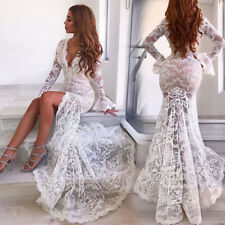 Women Sexy Deep V-neck Long Sleeve White Lace Mermaid Wedding Front Slit Dresses