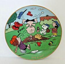 """It'S A Hit"" Dandbury Mint Peanuts Magical Moments Plate Charlie Brown Baseball"