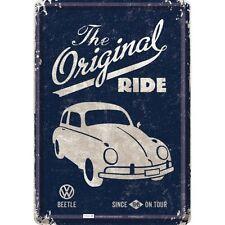 VW VOLKSWAGEN BEETLE ride cartolina lamiera lamiera SCUDO TIN CARD Sign 10 x 14 cm