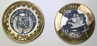 CABINDA 20 Macutas 2019 bimetal, Magalhaes, unusual coinage