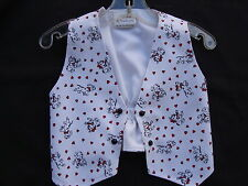 Denim VEST Dalmations W/Hearts Fully Lined  Sz 2 White/Black/Red Handmade NEW
