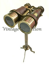 Vintage Nautical Brass Leather Binocular Antique Monocular with Tripod Stand