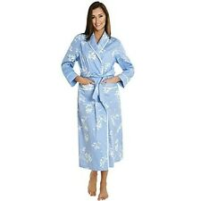Women's Blue With White Flowers Bathrobe Large Soft Lightweight Cotton Spa Robe