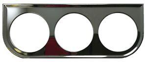 Universal Chrome Under Dash Triple Gauge Mounting Panel 2-1/16 Inch