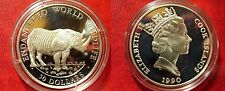 1990 Cook Is Large Silver Proof  50$ Fauna Rhino