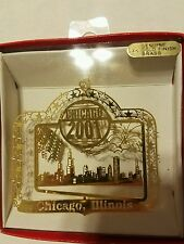 Chicago Illinois  Brass Christmas Ornament