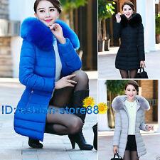 2019 Fashion Women Down Cotton Parka Long Fur Collar Hooded Coat Jacket outwear