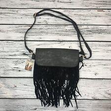 Heritage West Western Fringe Handbag Black Shoulder Bag Faux Leather Boho Purse