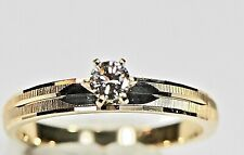 Real 14Kt Gold Ring Diamond Gem Wedding Band Engagement Ring Fine Jewelry size 6