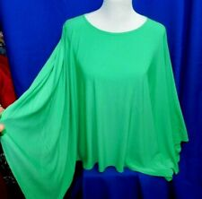 NEW Slinky Clothing GREEN Plus Size Top Cape Drape Tunic Overlay Blouse Hippy