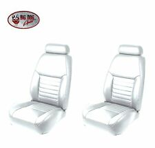 Oxford White Front Sport Bucket Seat Upholstery for 2000 Mustang GT Coupe, Vert