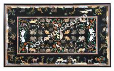"60""x36"" Black Marble Coffee Dining Table Top Semi Precious  Decor"