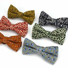 Lot 6 Pack Men's Bow Tie Adjustable Cotton Bowtie Vintage Flower Print Butterfly