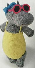 KNITTING PATTERN Alan Dart Heatwave Hippo Sunbathing Toy Hayfield PATTERN