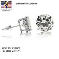 Solid .925 Sterling Silver Basket Stud Earrings CZ Cubic Zirconia Assorted Sizes