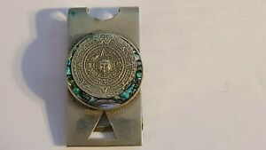 Vintage Taxco Mexico 925 Sterling Silver Mayan Sundial Abalone Inlay Money Clip