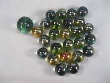 26 Cats Eye Marbles Blue & Green Colored With Yellow & Orange 1 Larger (O)