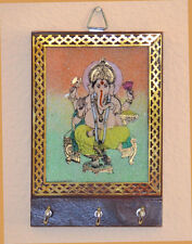 Gemstone Ganesha Painting  Wood Keychain Wall Holder with Three Hooks from India