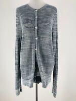 LOFT Women's Blue 100% Cotton Button-Down Open Knit Cardigan Sweater Size Large