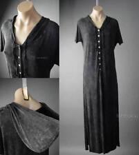 Hooded Dark Boho Mori Girl Wiccan Pagan Henley T-Shirt Long Maxi 120 ac Dress S