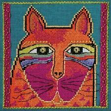 Laurel Burch Wild Orange Cat On Linen Counted Cross Stitch Kit