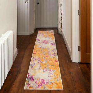 Colourful Rugs Orange Pink Silver Abstract Distressed Bedroom Carpet Runner Mats