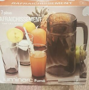luminarc Fume  Water Jug And Glasses Set. Never been out of  box..Smokey Glass