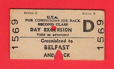 Irish Railway Ticket - UTA 2nd Class Day Excursion: Greenisland to Belfast: 1962