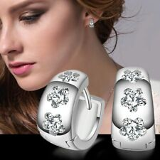 1 Paar Creolen Ohrringe Silber Edelstahl Huggie Zirkonia 14mm x 6mm Silber Damen
