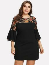NEW..Stylish Plus Size Black Dress w Floral Lace Detail & Bell Seeves..SZ14/1XL