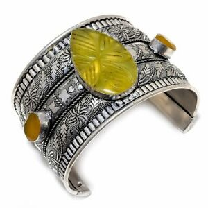 Carved Yellow Sapphire 925 Sterling Silver Jewelry Bangle Adst