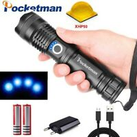 50000LM Xhp50 LED Flashlight Rechargeable Zoom 5Modes Torch light 18650 or 26650
