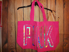 VICTORIAS SECRET PINK FOIL LETTERING TOTE BAG WEEKENDER PURSE GYM BEACH NWT