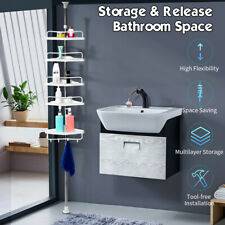 5 Tier Shower Corner Pole Caddy Shelf Bathroom Storage Rack Holder Organizer