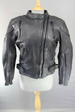 ASHMAN BLACK COWHIDE LEATHER BIKER JACKET WITH ARMOUR AND THERMAL LINING SIZE 12