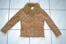 Girls Cupid Corduroy Jacket Fur Trim Camel Color Sz 8 (runs small) Style # 1017