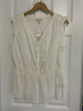 BNWT WOMEN'S BANANA REPUBLIC LINEN SLEEVELESS SHIRT PETIE EXTRA LARGE (PXL)