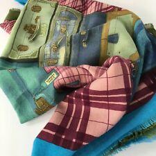 HERMES H En Voyage Cashmere Silk Scarf Blue Loden Travel Bags Trunks Suitcases