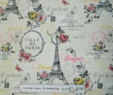 Quilting Patchwork Sewing Cotton Fabric C'EST LA VIE PARIS 50x55cm FQ NEW