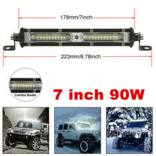 1x 7 inch 90W Cree LED Light Bar Spot Flood Combo Beam Single Row Driving Lamps