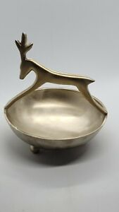 VINTAGE BOWL WITH A BRASS HANDLEA DEER (BUCK) Unique and Rare Pre-owned USA
