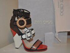 NEW $1,750+ Jimmy Choo KAYA Triple Buckle Wedge Sandal Shoes Sz 40 - 9.5 HOT!!