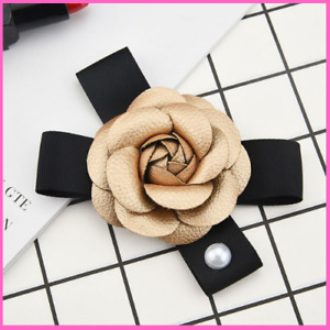 Brooches Luxury Big Leather Camellia Pearl Rose Flower hair Accessories Women
