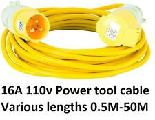 16A Extension 110V Yellow Arctic HO7 power tool ceeform cable lead
