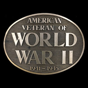Vintage NOS American Veteran Vet World War II 1941-1945 Solid Brass Belt Buckle
