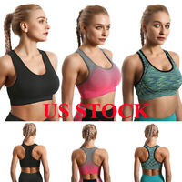 US Women High Impact Yoga Sports Bra Wireless Fitness Stretch Workout Seamless